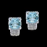 Pavés de Paris earrings - Blue Topaz 18k White Gold