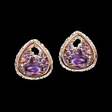 Boucles d'oreilles Pétales - Améthystes Or Jaune 18k