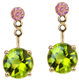 Macarons earrings - Peridots 18k Pink Gold