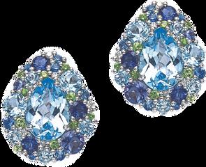 Emotion Poire earrings - Blue Topaz 18k White Gold