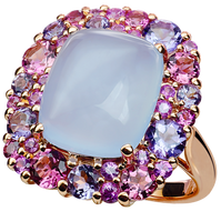 Emotion Coussin ring - Chalcedony 18k Pink Gold
