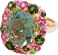Emotion Coussin ring - Green Quartz 18k Pink Gold