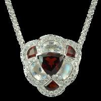 Flora Pensée necklace - Garnets 18k White Gold