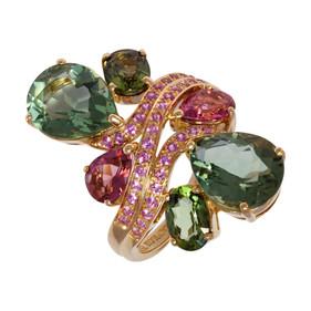Batik ring - Green Quartz 18k Pink Gold