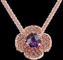 Flora Lotus necklace - Amethyst 18k Pink Gold
