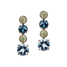 Macarons earrings - Blue Topaz 18k Pink Gold