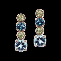 Boucles d'oreilles - Topazes Bleus Or Rose 18k