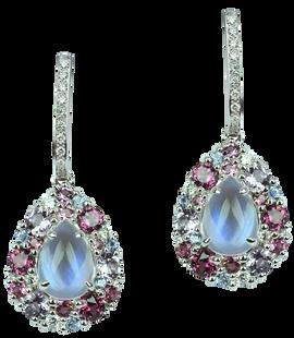 Emotion Poire earrings - Moonstones 18k White Gold