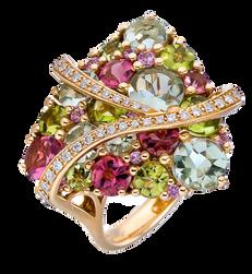 Galaxie ring - Peridots 18k Pink Gold