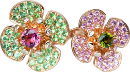 Flora Lotus double ring - Green Tourmaline and Pink Sapphir 18k Pink Gold