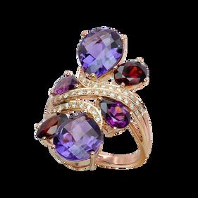 Batik ring - Amethysts 18k Pink Gold