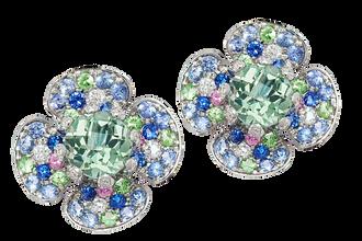 Boucles d'oreilles - Quart Vert Or Blanc 18k