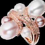 Batik Ring - White and Pink Pearls 18k Pink Gold