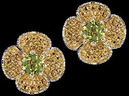 Flora Lotus earrings - Peridot 18k Yellow Gold