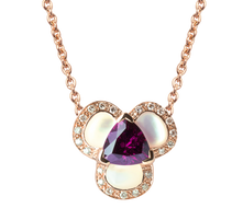 Lotus Pensée necklace - Rhodolite and White Mother of Pearl 18k Pink Gold