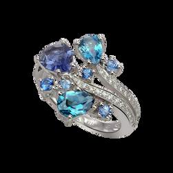 Batik Ring - Topaz Blue London 18k White Gold