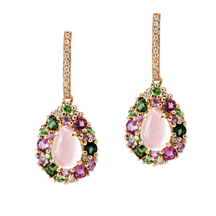 Emotion Poire earrings - Pink Quartz 18k Pink Gold