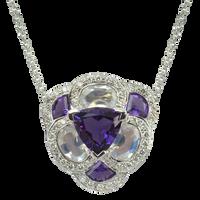 Flora Pensée necklace - Amethyst 18k White Gold