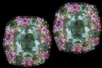 Boucles d'oreilles Emotion coussin - Quartz Vert Or 18k