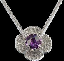 Flora Lotus necklace - Amethyst 18k White Gold
