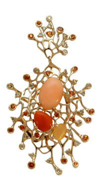 Starfish pendant - Cordierite 18k Pink Gold