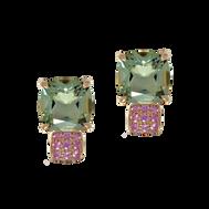 Pavés de Paris earrings - Green Quartz 18k Pink Gold
