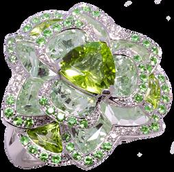 Lotus Pensée ring - Peridots 18k White Gold