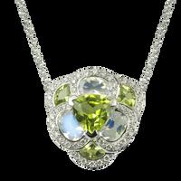 Flora Pensée necklace - Peridots 18k White Gold