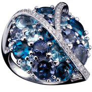 Bague Galaxie - Topazes Blue London Or Blanc 18k