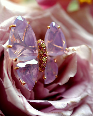 Papillons - améthyste milky, saphirs ros
