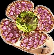 Flora Lotus ring - Peridot 18k Pink Gold