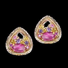 Boucles d'oreilles Pétales - Rubellites Or Jaune 18k