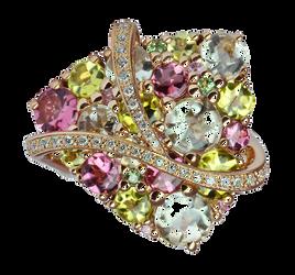 Galaxie ring - Green Quartz 18k Pink Gold