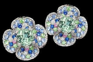 Flora Lotus earrings - Green Quartz 18k White Gold