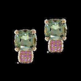 Boucles d'oreilles Pavés de Paris - Quartz Vert Or Rose 18k
