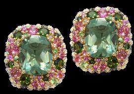 Emotion Coussin earrings - Green Quartz 18k Pink Gold