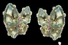 Boucles d'oreilles Papillon - Quartz Verts Or Jaune 18k