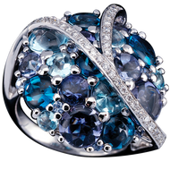 Galaxie ring - London Blue Topaz 18k White Gold