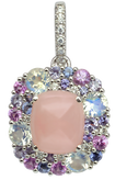 Emotion Coussin pendant - Pink Opal 18k White Gold