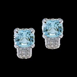 Boucles d'oreilles Pavés de Paris - Topaze Bleu Or Blanc 18k