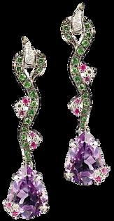 Eden earrings - Amethysts 18k White Gold