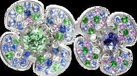 Flora Lotus double ring - Green Quartz and Iolite 18k White Gold