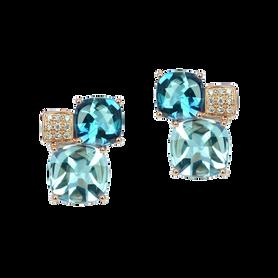 Boucles d'oreilles Pavés de Paris - Topazes London Blue Or Jaune 18k