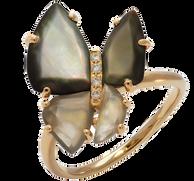 Bague Papillon - Pierre de Lune Or Jaune 18k