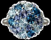 Bague Pointilliste - Topazes  London Blue Or Blanc 18k