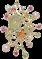 Starfish pendant - Prehnite 18k Yellow Gold
