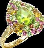 Emotion Poire ring - Peridot 18k White Gold