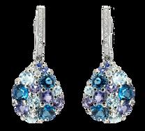 Boucles d'oreilles Pointilliste - Topazes Bleus Or Blanc 18k