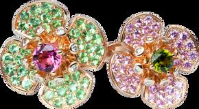 Bague double Flora Lotus - Tourmaline Verte et Saphir rose Or Blanc 18k