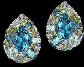 Emotion Poire earrings - London Blue Topaz 18k Pink gold